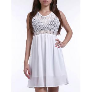 Women's Stylish Sleeveless Crochet Chiffon Splicing Dress