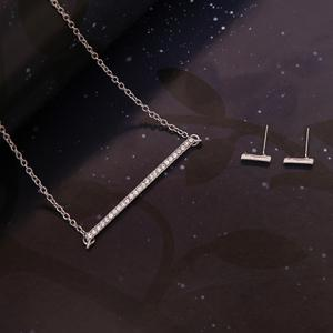 Alloy Rhinestoned Rectangle Shape Jewelry Set (Necklace Bracelet and Earrings) - SILVER