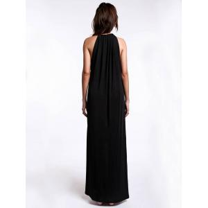 Trendy Strappy Loose-Fitting Black Maxi Dress For Women -