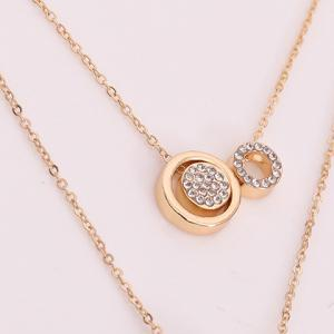 Circle Multilayered Rhinestone Necklace -