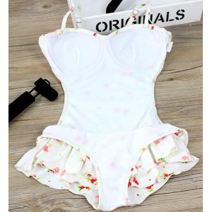 Refreshing Spaghetti Strap Floral Print Swimsuit For Women -