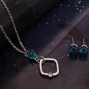 Faux Crystal Cube Shape Jewelry Set - SILVER