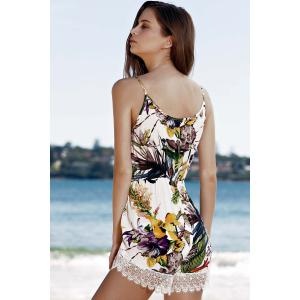 Lace Trim Floral Sleeveless Romper -