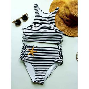Striped High Waisted Bikini with Crop Top - White And Black - L