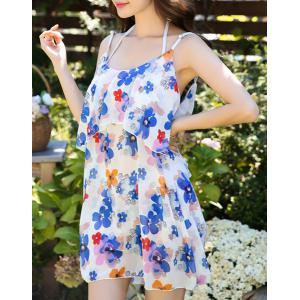 Cute Halter Ruffled Floral Bikini and Backless Dress Swimming Suit For Women - COLORMIX XL