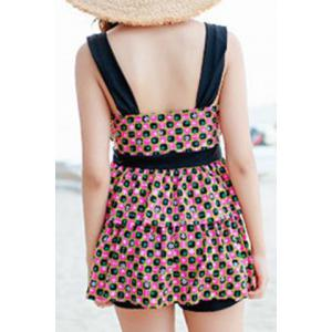 Refreshing Square Print Bowknot Two Piece Swimsuit For Women -