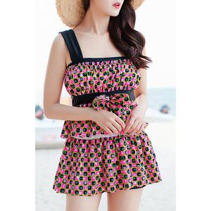 Refreshing Square Print Bowknot Two Piece Swimsuit For Women