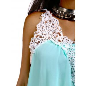 Stylish Scoop Neck Crochet Chiffon Tank Top For Women -