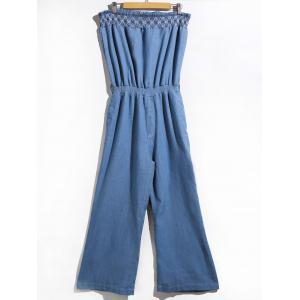 Women's Stylish Strapless Denim Jumpsuit - Blue - S