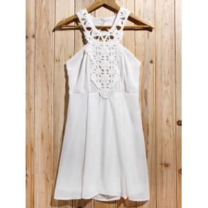 Women's Stylish Backless Lace Splicing Sleeveless Cut Out Dress - Off-white - L