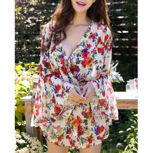 Chic Push Up Floral Bikini and Bell Sleeve Dress Swimwear Suit For Women