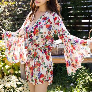 Chic Push Up Floral Bikini and Bell Sleeve Dress Swimwear Suit For Women -