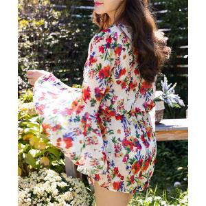 Chic Push Up Floral Bikini and Bell Sleeve Dress Swimwear Suit For Women - COLORMIX XL