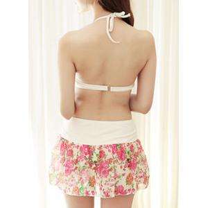 Endearing Halter Floral Bikini and Cut Out Blouse Swimwear Suit For Women -