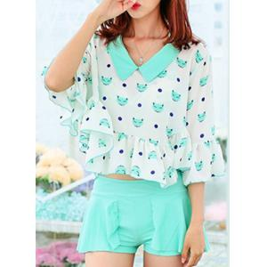 Cute Flat Collar Animals Print Three-Piece Swimsuit For Women -