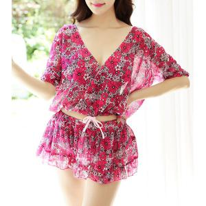 Trendy Floral Bikini and Cropped Blouse and Skirt Four-Piece Suit For Women - Colormix - Xl