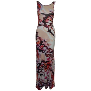 Printed Criss Long Bodycon Formal Prom Dress - Red - S