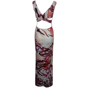 Printed Criss Long Bodycon Formal Dress - RED S