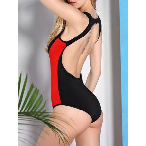 Alluring Scoop Neck Color Block Women's Swimwear