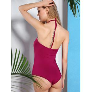 Alluring Halter Neck Solid Color Women's Swimwear -