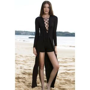 Lucky Lace-Up Long Sleeve Layered Romper -