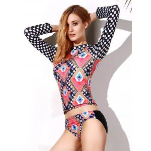 Geo Print Mock Neck Rashguard Set - Colormix - Xl