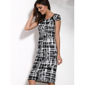 Elegant Round Neck Short Sleeve Printed Bodycon Dress For Women -