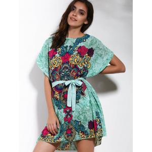 Leisure Style Round Collar Short Sleeve Printed Self Tie Belt Dress For Women -