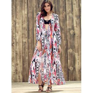 Ethnic Plunging Neckline Long Sleeve Print Dress For Women - COLORMIX S