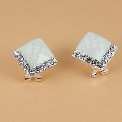 Pair of Brilliant Diamante Square Stud Earrings For Women - White