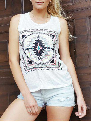 Online Ethnic Scoop Neck Loose-Fitting Geometric Top For Women WHITE ONE SIZE