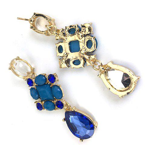 Buy Pair of Fashion Rhinestoned Gemstone Embellished Waterdrop Pendant Earrings For Women - AS THE PICTURE  Mobile