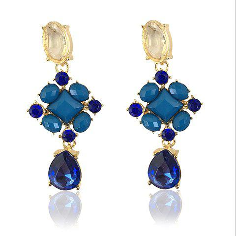 New Pair of Fashion Rhinestoned Gemstone Embellished Waterdrop Pendant Earrings For Women AS THE PICTURE