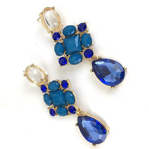 Trendy Pair of Fashion Rhinestoned Gemstone Embellished Waterdrop Pendant Earrings For Women - AS THE PICTURE  Mobile
