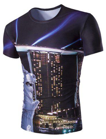 Shops Slimming Round Neck Building Printed T-Shirt For Men