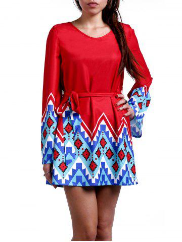 Trendy Women's Stylish Scoop Neck Bell Sleeve Geometrical Print Dress RED XS