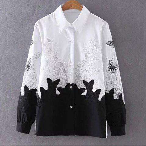 Trendy Chic Shirt Collar Long Sleeve Lace Design Hit Color Women's Shirt