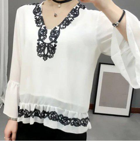Outfits Flare Sleeve Flounced V Neck Blouse