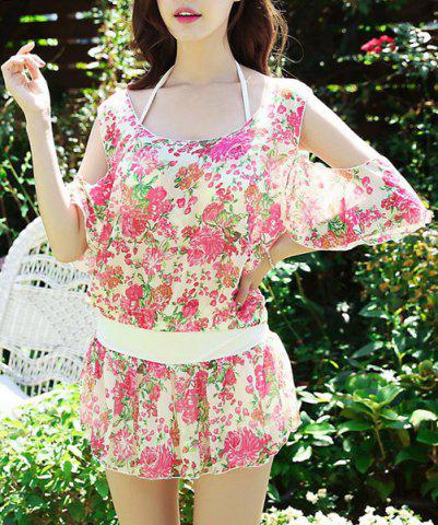 Unique Endearing Halter Floral Bikini and Cut Out Blouse Swimwear Suit For Women