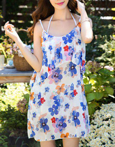 Chic Cute Halter Ruffled Floral Bikini and Backless Dress Swimming Suit For Women COLORMIX XL