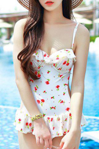 Affordable Refreshing Spaghetti Strap Floral Print Swimsuit For Women
