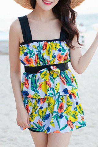 Discount Refreshing Leaves Print Bowknot Two Piece Swimsuit For Women
