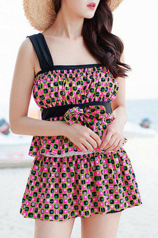 Buy Refreshing Square Print Bowknot Two Piece Swimsuit For Women