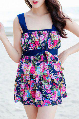 Outfit Refreshing Floral Print Bowknot Two Piece Swimsuit For Women