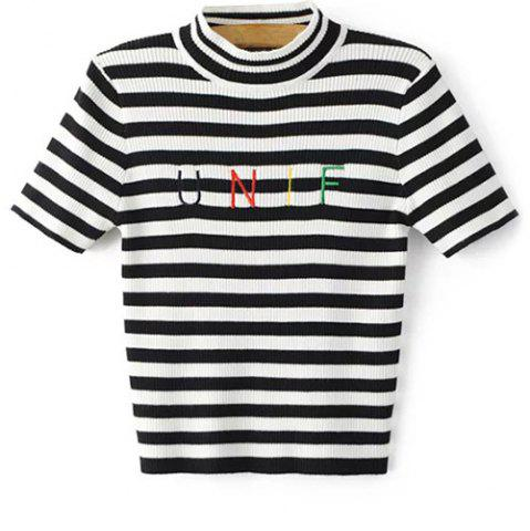Trendy Letter Embroidery Knitted Striped T-Shirt