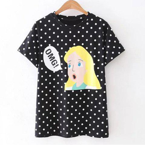 Affordable Trendy Round Neck Short Sleeve Character Print Women's T-Shirt