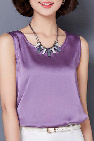 New Graceful Solid Color Silky Tank Top For Women