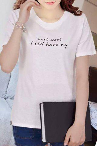Hot Simple Style Letter Design Pullover T-Shirt For Women