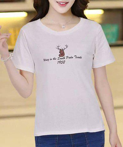 Shops Stylish Letter and Elk Printed Pullover T-Shirt For Women