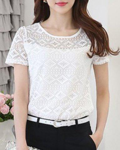 Fashion Women's Stylish Lace Spliced Scoop Neck Short Sleeve Blouse